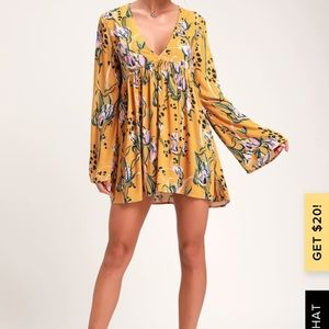 Free People yellow floral Tunic SZ XS NWT